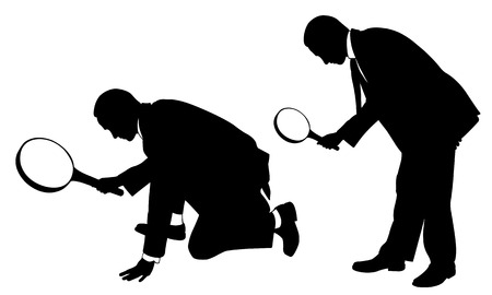 evidence: silhouettes of men with magnifying glass Illustration