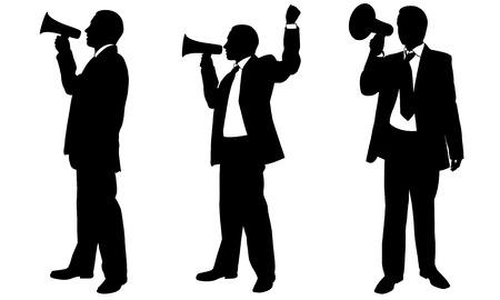 megafono: conjunto de personas con megáfono