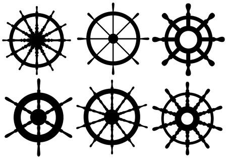 set of different rudders 矢量图片