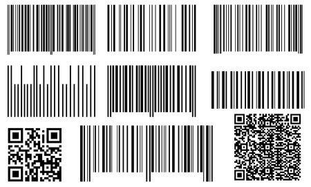 bar codes: set of bar codes and QR codes