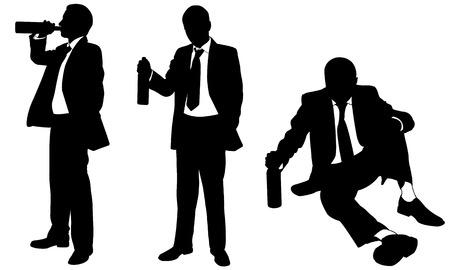 飲酒のビジネスマンのシルエット  イラスト・ベクター素材