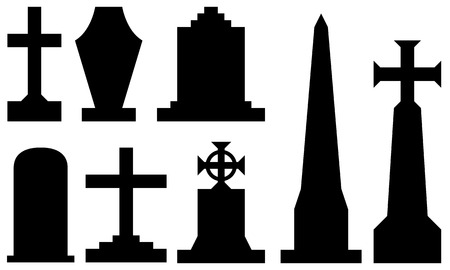 set of different tombstones isolated