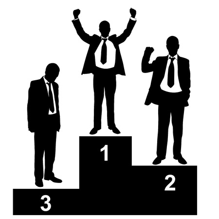 winner podium: silhouettes of businessmen on a podium Illustration