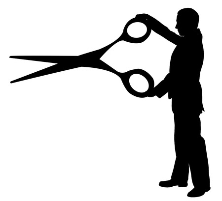 macho: illustration of man holding a big pair of scissors