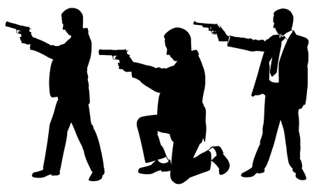 pistols: set of men with pistols Illustration