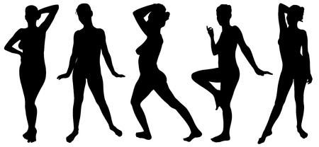 silueta humana: conjunto de las mujeres que presentan Vectores