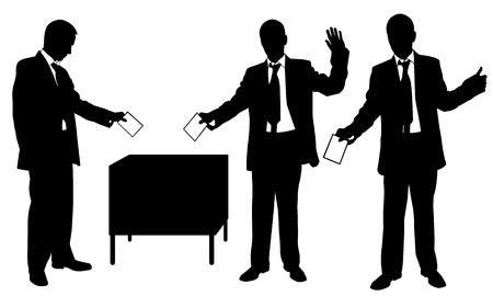 voter registration: set of men voting Illustration