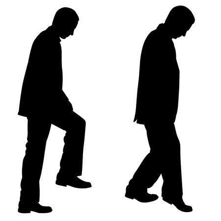 subiendo escaleras: las personas que suben las escaleras Vectores
