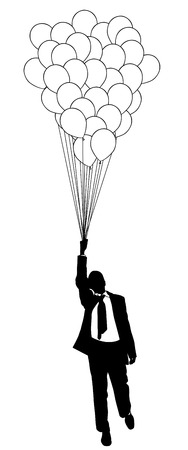 ascend: illustration of man flying with balloon