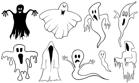 wicked set: Set of different ghosts isolated on white