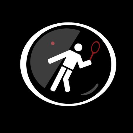 balones deportivos: Tenis símbolo de botón con el deporte en el fondo negro