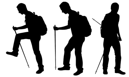 tramp: Silhouettes of people trekking isolated on white Illustration