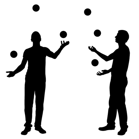 juggle: Silhouettes of men juggling balls isolated on white