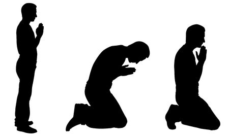 calmness: Silhouettes of men praying isolated on white