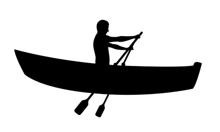 rowboat: Silhouette of man in boat rowing isolated on white Illustration