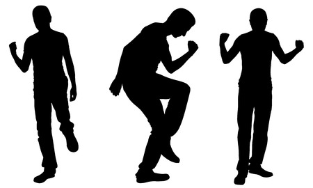 glad: Silhouettes of successful men isolated on white Illustration