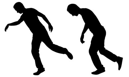 illustration: Illustration of a men stumbling isolated on white