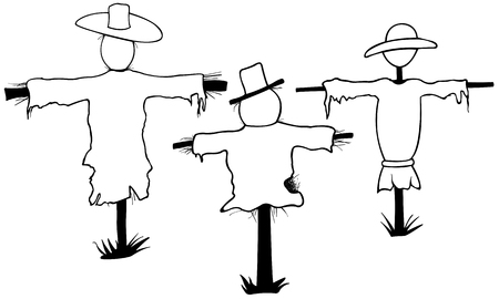 fright: Set of scarecrows isolated on white. Illustration