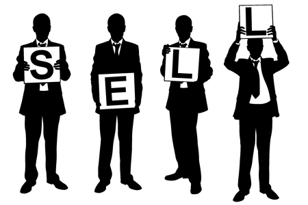 acquire: Silhouettes of businessmen holding panels isolated on white
