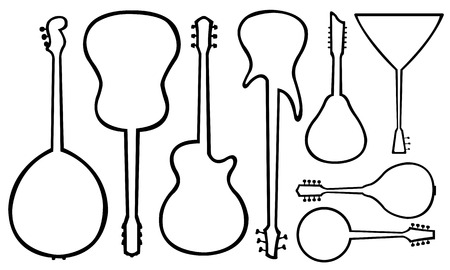 Set of guitars isolated on white Illustration