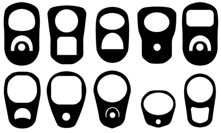 Set of different pull rings isolated on white Illustration