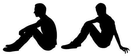 Silhouettes of people sitting pose isolated on white