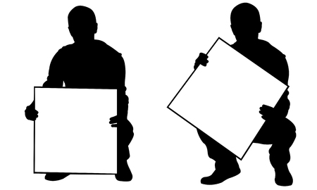 People holding panels in a crouch position isolated on white