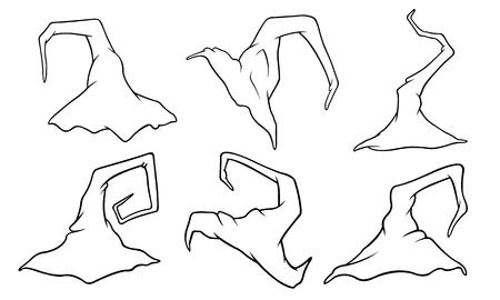 Set of witch hats isolated on white Ilustração