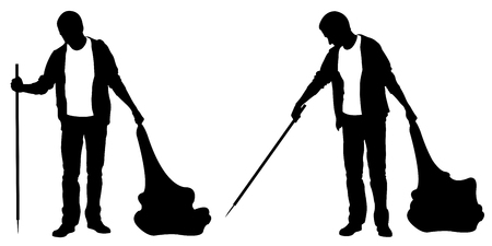 Silhouettes of people cleaning isolated on white