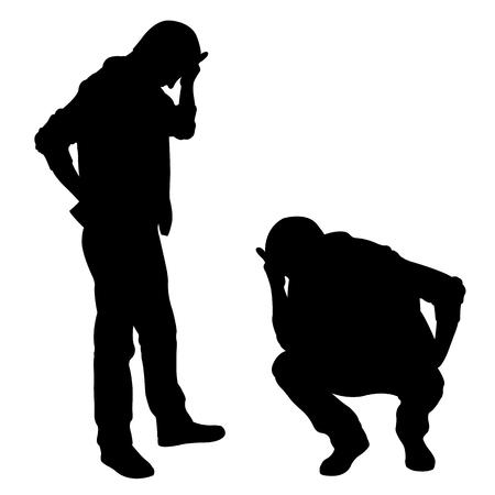 Siluetas de hombres tristes aislados en blanco