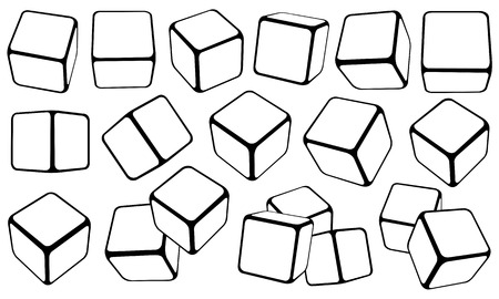 Set of cubes in different positions isolated on white