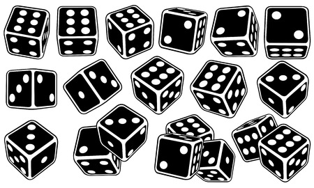 Set of different black dice isolated on white Illustration