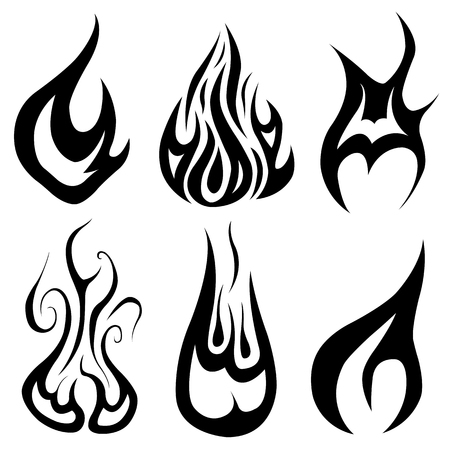 Set of different flames isolated on white