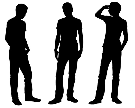 Silhouettes of men is different standing positions isolated on white 向量圖像