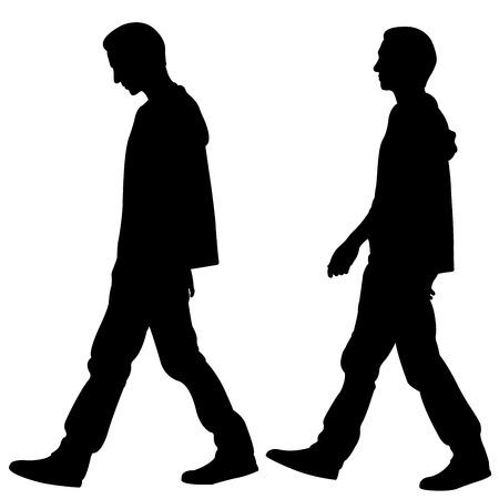 Schattenbilder von Männern, die lokal auf Weiß gehen