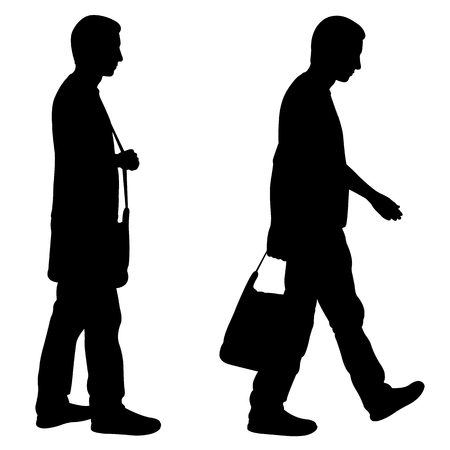 Silhouettes of men walking with bag isolated on white