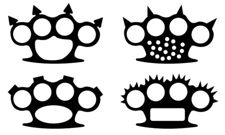 set of different brass knuckles Illustration