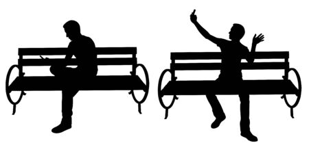 silhouettes of people on benches with phones