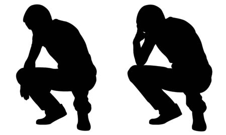 silhouettes of sad crouching people