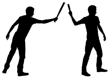 silhouettes of men with baseball bats