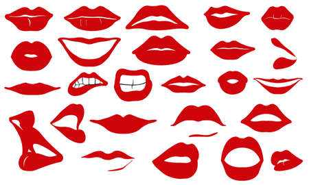 set of different red lips Vetores