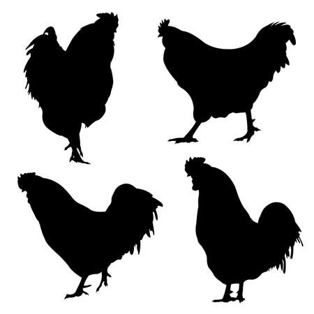 silhouettes of different roosters Vetores