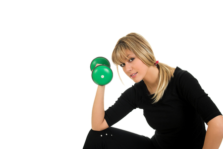 Young blondie working out with weight isolated on white background