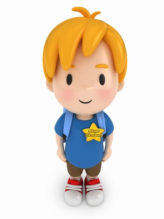 3D Render of Kid with Star Student Award