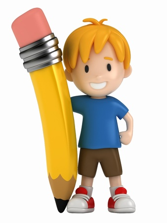 3D Render of Little Boy and Big Pencil