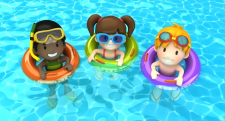3d render of kids floating with inflatable ring photo