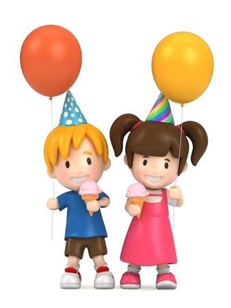 3d render of kids in a party photo