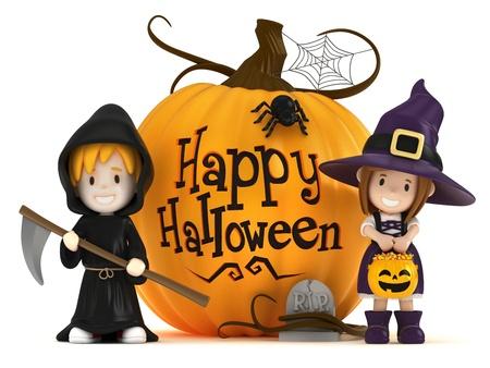 treats: 3D hacen de los niños que usan los trajes de Halloween Foto de archivo