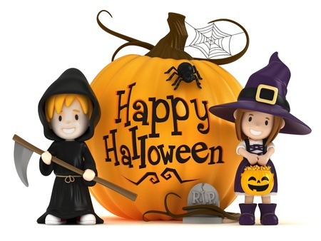tricks: 3D render of kids wearing halloween costumes Stock Photo
