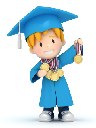 3D render of a boy with medals